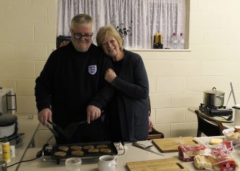 Jim and Barbara run the kitchen on Bonfire Night